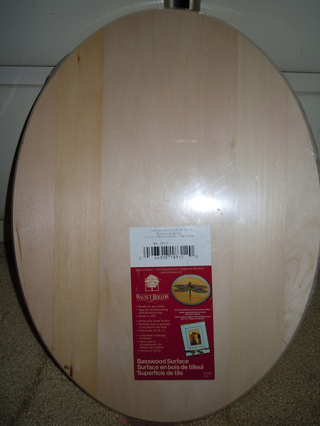 Large Wooden oval plaque, $4, new in packaging.
