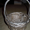 "Closer shot of the silver flower girl basket<br /> <br /> 2 Silver flower girl baskets. They are metallic in paint with a shimmer and hint of gold. It is about 7"" in diameter. About 9"" in height. Each one will be $7."