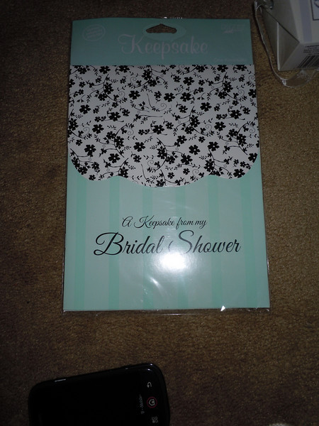 Bridal shower keep sake holder, Baby blue, black and white, $1, 1 available.