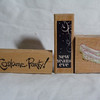 Wooden Rubber Stamps<br /> It's a Costume Party!, NEW, $1<br /> New Years Eve, NEW, $1<br /> Flat Shoes with design, NEW, $1
