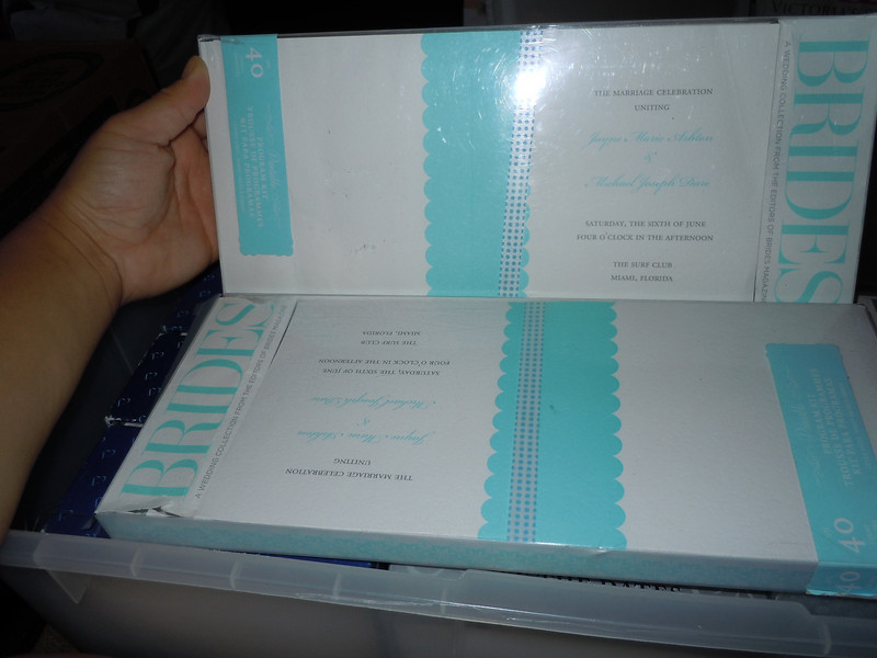 "Brides Collection: Ocean Blue/White Program Kit: There are two sets of Brides Wedding Collection print-your-own program kit.  There are 40 programs in each kit.  Each program is a white textured cardstock with a ocean blue scalloped block in the center measuring 5 ½"" x 11"" and folds in half so only 1"" scalloped ocean blue shows on each half at the fold.  Each program comes with a plain white sheet for text inside.  Each program comes with a white w/ocean blue dotted ribbon to wrap each program.  One Set available, $12"