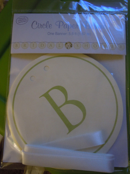 ivory circles w/olive green print. Bridal Shower banner, 5 1/2 feet long. $2 each, 3 available