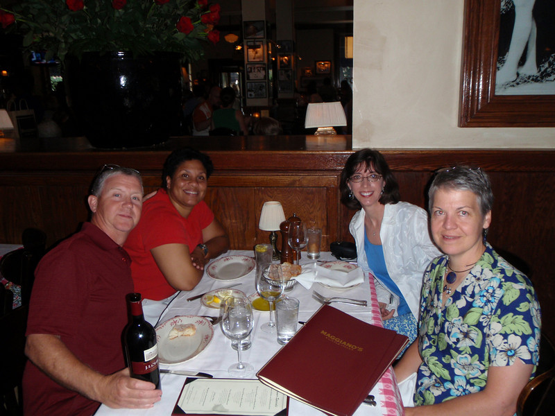 Russell, Wendy, Jenny, and Elaine at Maggiano's for dinner on 07/11/09