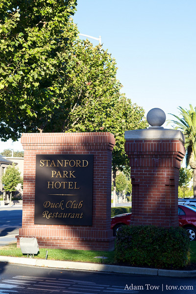 The entrance to the Stanford Park Hotel in Palo Alto.