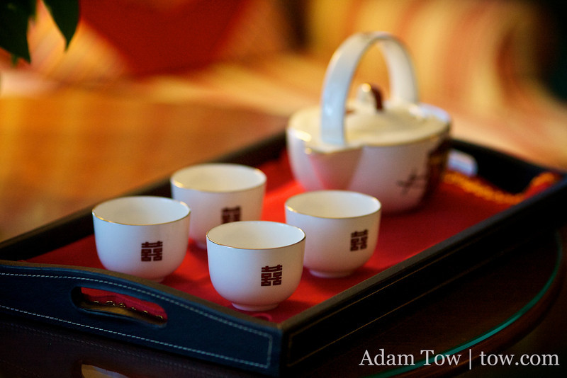 Tea ceremony cups and teapot.