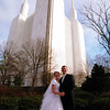 Couple by Mormon Temple Spires # 054
