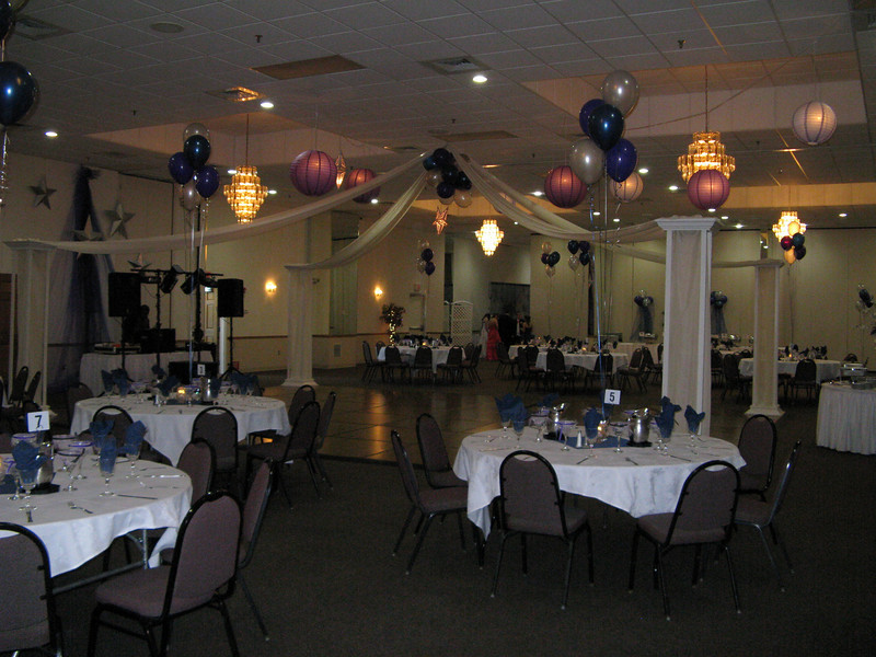 Here's to the Night Prom- Dance Canopy with Purple, Blue and Silver Stars.  <br /> Maneeley's in South Windsor