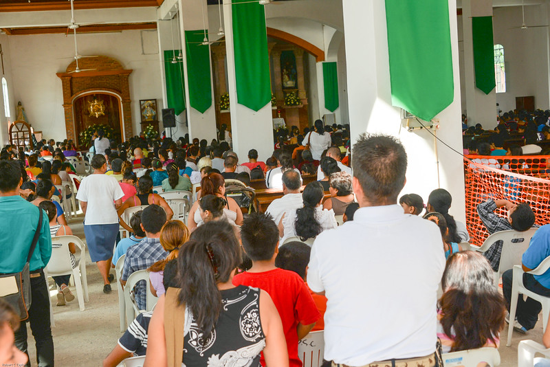 Sunday morning mass, in the city of Ixtapa, that we toured.  The town was empty until after church let out.  Then everyone had lunch and the town square was filled.