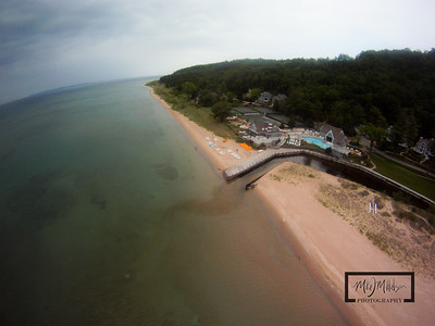 Aerial view of Club Manitou and the beach at the Homestead Resort, Glen Arbor, Michigan.  © Copyright m2 Photography - Michael J. Mikkelson 2009. All Rights Reserved. Images can not be used without permission.