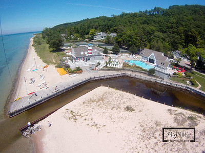 Aerial view of Club Manitou, the pool, and the Crystal River outlet at the Homestead Resort, Glen Arbor, Michigan.  © Copyright m2 Photography - Michael J. Mikkelson 2009. All Rights Reserved. Images can not be used without permission.