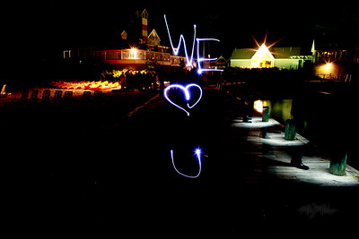 We Heart U  Light Art during the Bonfire Reception at Club Manitou at the Homestead Resort in Glen Arbor, Michigan.  Tim and Darby tributes with light and long exposures.  © Copyright m2 Photography - Michael J. Mikkelson 2009. All Rights Reserved. Images can not be used without permission.