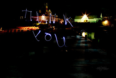 Thank You  Light Art during the Bonfire Reception at Club Manitou at the Homestead Resort in Glen Arbor, Michigan.  Tim and Darby tributes with light and long exposures.  © Copyright m2 Photography - Michael J. Mikkelson 2009. All Rights Reserved. Images can not be used without permission.