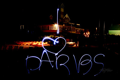 I love  Darbs  Light Art during the Bonfire Reception at Club Manitou at the Homestead Resort in Glen Arbor, Michigan.  Tim and Darby tributes with light and long exposures.  © Copyright m2 Photography - Michael J. Mikkelson 2009. All Rights Reserved. Images can not be used without permission.