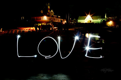 LOVE  Light Art during the Bonfire Reception at Club Manitou at the Homestead Resort in Glen Arbor, Michigan.  Tim and Darby tributes with light and long exposures.  © Copyright m2 Photography - Michael J. Mikkelson 2009. All Rights Reserved. Images can not be used without permission.