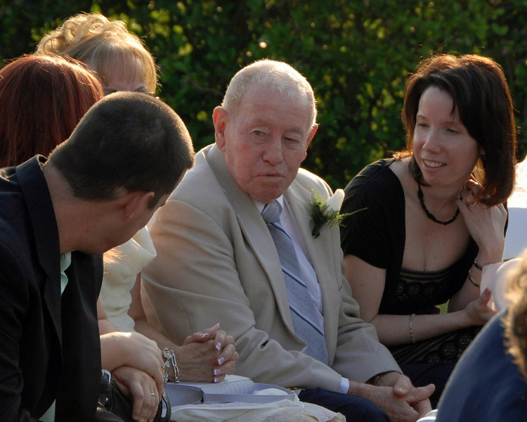 Grandpa Fagan and family wait for the the ceremony to start.  That is my lovely wife to the right.