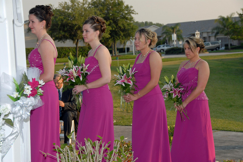 The bridesmaids watch and think about their weddings.