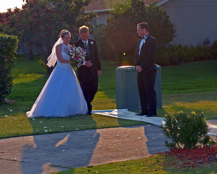 Enter the Bride and her father.  As you can see the sun was rapidly settling behind them.
