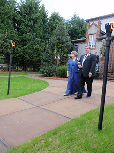 Bob and Frances walking down the aisle at start of ceremony