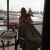 Jenn getting her hair done.
