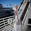 Bride on the bow of the Duchess.  Hair style by Clearwater Salon, Wedding dress by Christy's Bridal, bouqet by Pesche's, photography by Matt Mason