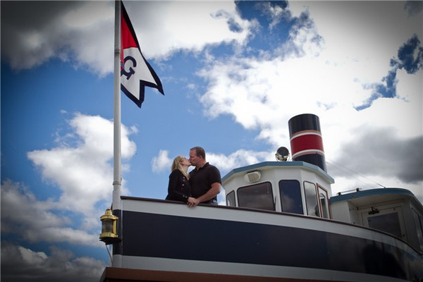 Wedding Kiss on the Bow of the Grand Belle.