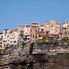 View to Bonifacio city from the sea. Corsica, France