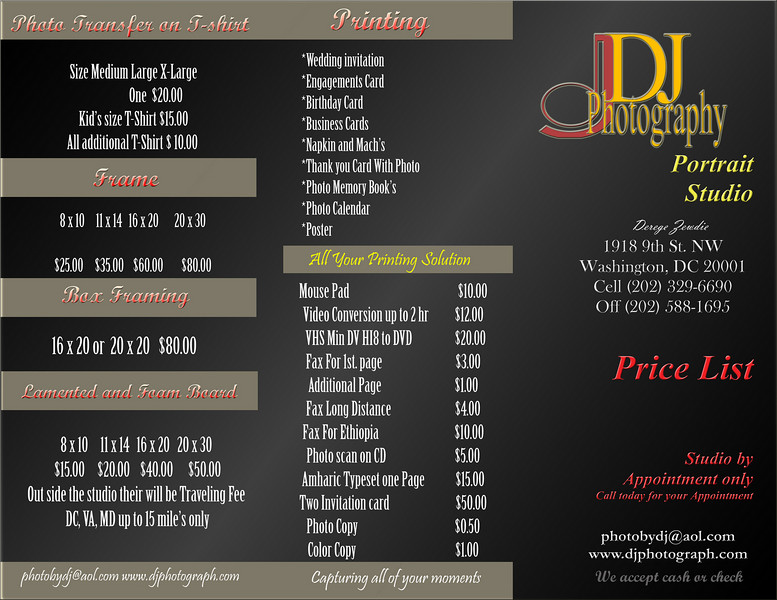 Dj Photography Studio Price List