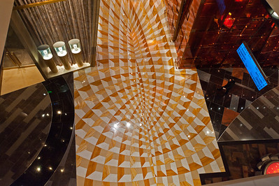 A walkway on the casino floor at the Aria