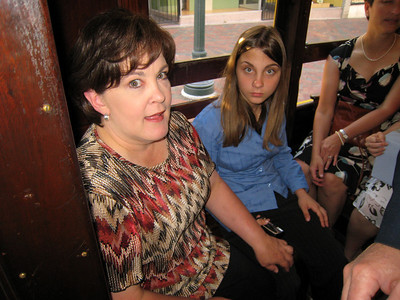 Riding the trolley to the wedding.