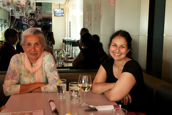 Laiq Auntie and Fariha with a glass of wine before dinner