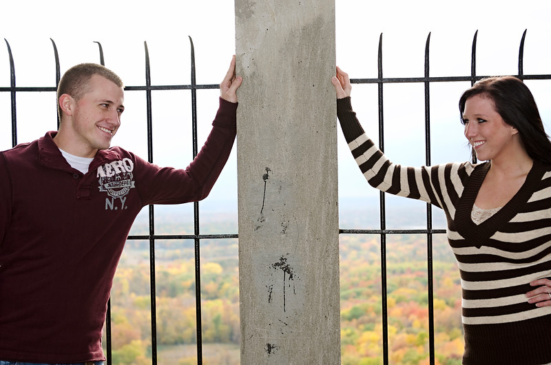 Engagement photo overlooking the fall colors at Holy Hill.