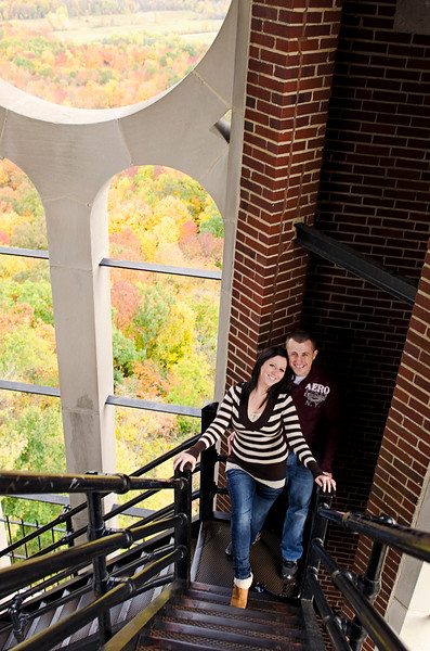Engagement photo at Holy Hill with beautiful fall colors in the background.