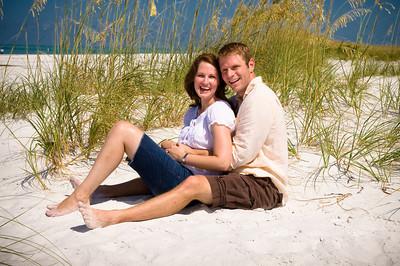 Karey & Brad's engagement photos on the beach of the Sandbar Restaurant where they were also married :)  www.groupersandwich.com  Photos by Dara Caudill www.islandphotography.org