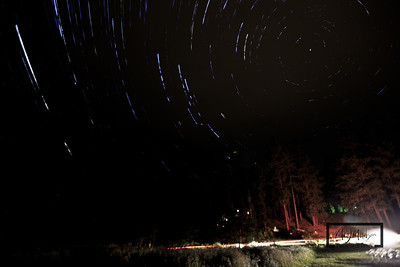 Star Trails looking at Polaris from the lawn of the Mountain Home Lodge, in Leavenworth, Washington. © Copyright m2 Photography - Michael J. Mikkelson 2009. All Rights Reserved. Images can not be used without permission.