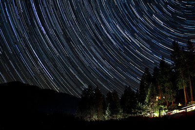 Star Trails looking NNW from the lawn of the Mountain Home Lodge, in Leavenworth, Washington. © Copyright m2 Photography - Michael J. Mikkelson 2009. All Rights Reserved. Images can not be used without permission.