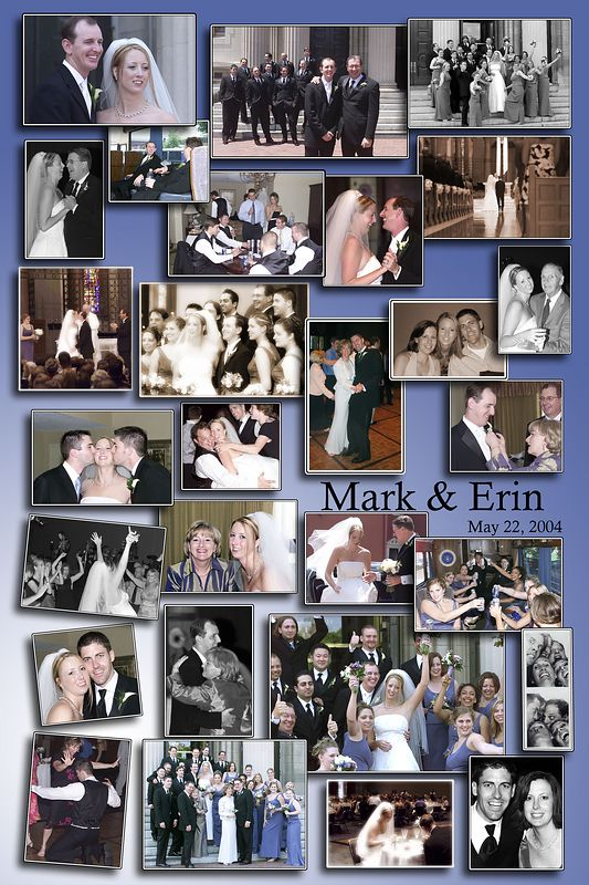 "I was not the sole photographer at this wedding but shot the casual more relaxed pictures for my  cousin Erin. I actually love doing this kind of shooting because I get natural smiles and I can get more creative. I designed this collage for them as a gift, the final size was about 20"" x 12"". I can design collages off any pictures for any event. You can double click the picture to make it larger."