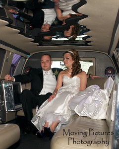 Erin & Evan Wedding - settling into the limo