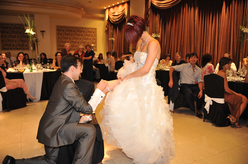 This is another tradition in wedding parties. The groom have to get the garter from the bride's leg and throw it to the single men at the party.<br /> ~Eva~