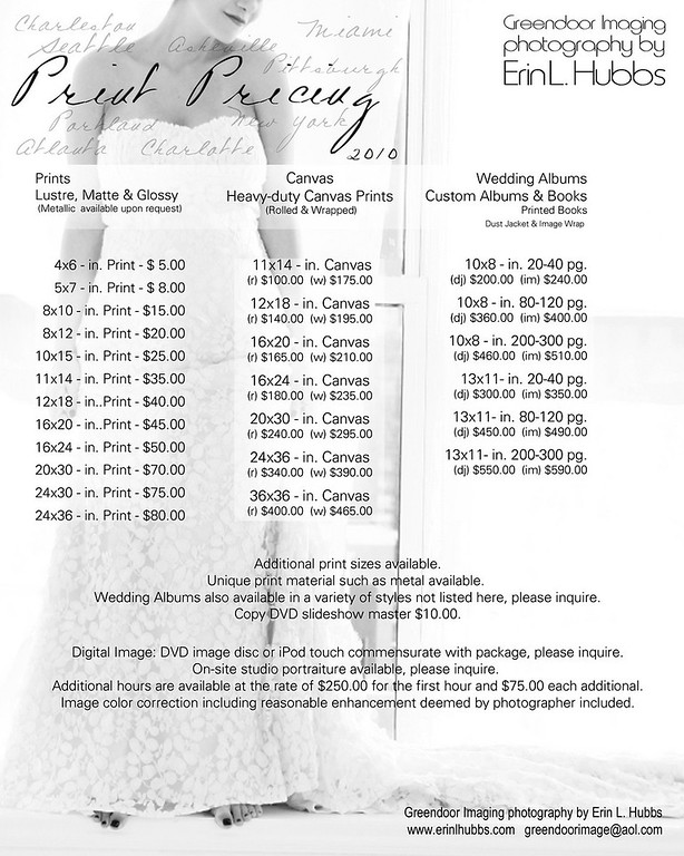 Local/Destination Wedding and Print Pricing