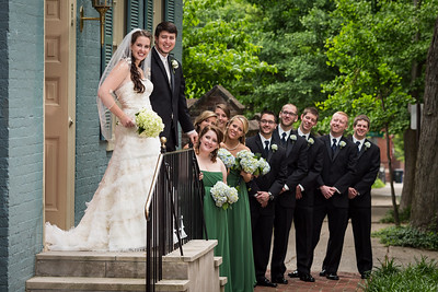 Sarah & Michael's First Look, with the wedding party at Gratz Park 5.25.13.