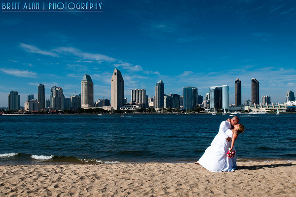 Coronado Wedding Photography with San Diego skyline.