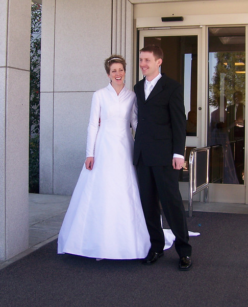Leaving the temple after the ceremony.