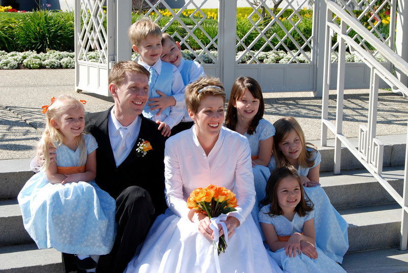 The flower kids - Zoie, George, Porter, Kylie, Jessica, and Maddie.
