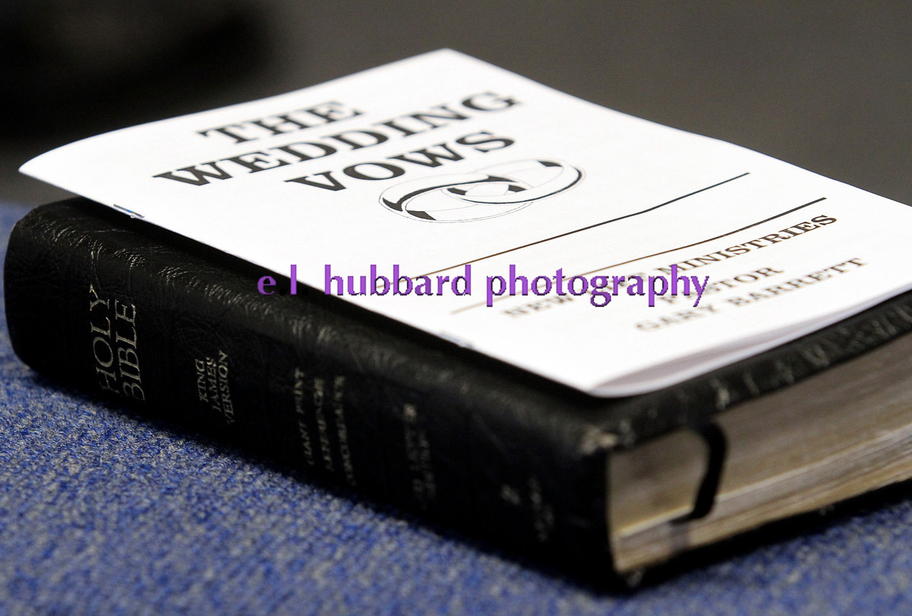 E.L. Hubbard photography<br /> The Holy Bible and wedding vows ready for the wedding of Kari Gregory and Nathan Carberry, at New Life Ministries in Hamilton Tuesday, Aug. 16, 2011.