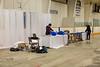 Decorating the Moosonee arena for wedding of Cheryl Gunner and Xavier Hookimaw.