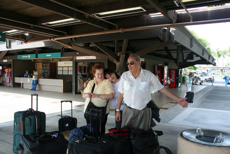 mom, grandma and grandpa, upon our arrival at Kona airport