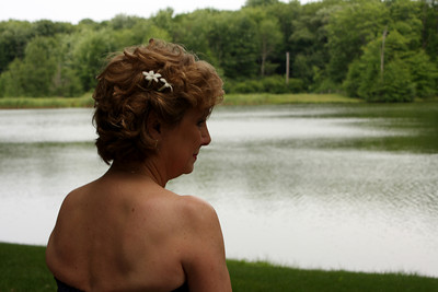 Joyce looks out over the water just before the ceremony begins - Chagrin Falls, OH ... July 4, 2009