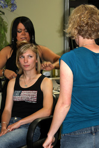 Julie getting her hair done before the wedding - Chagrin Falls, OH ... July 4, 2009