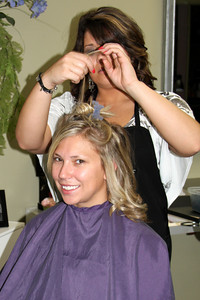 Melissa getting her hair done before the wedding - Chagrin Falls, OH ... July 4, 2009