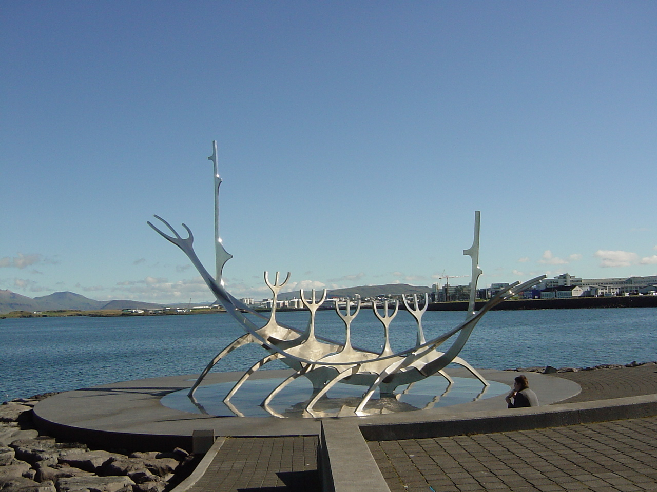 There is a lot of art in Iceland. Traditionally, it is not done to 'compete' with big houses, cars, etc. so the Icelanders put their money in art. You will find art everywhere in the country. This particular piece - a viking's boat - is called 'ode to the sun'.